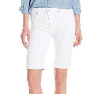 """7FAMK White Denim Bermuda """"Dojo"""" Jean Shorts"""